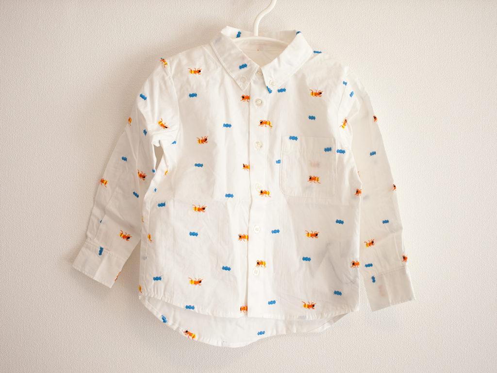 インセクトコレクションInsect Collection 総柄刺繍シャツ ありさん ホワイト キッズ