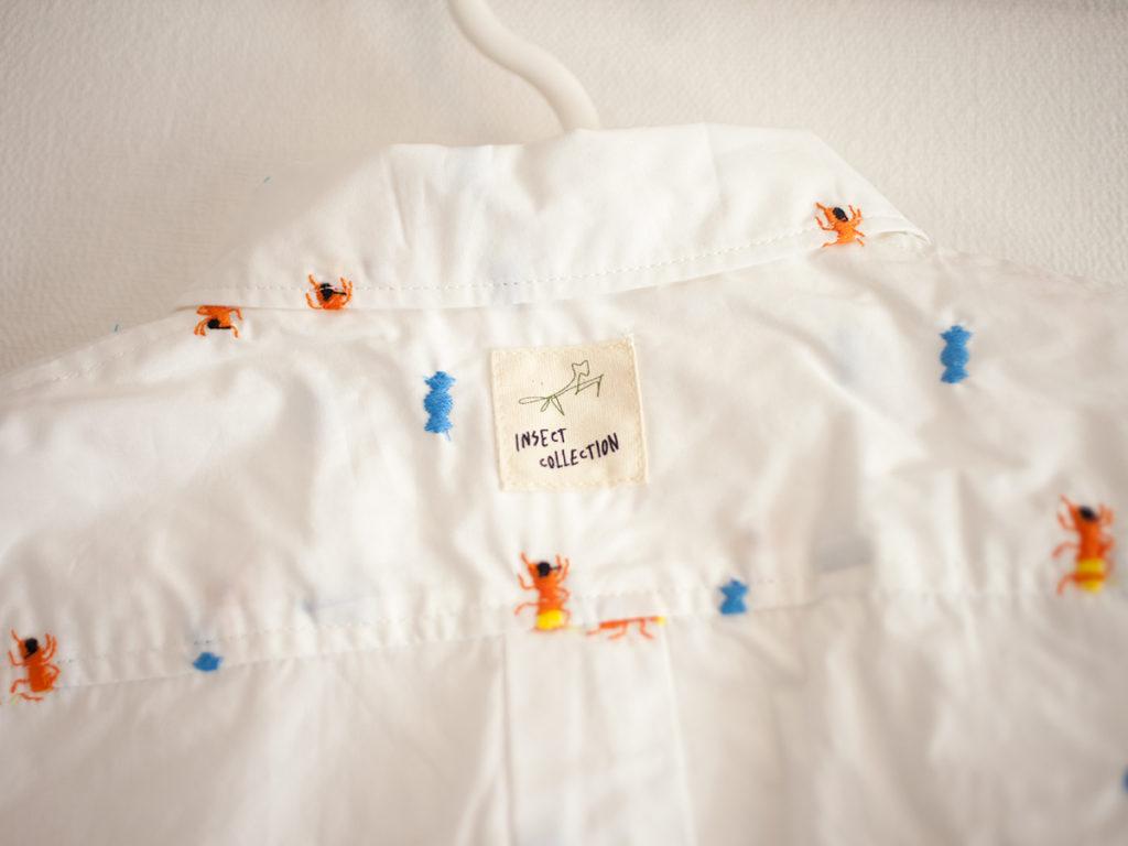 インセクトコレクションInsect Collection 総柄刺繍シャツ ありさん ホワイト キッズ ディテール