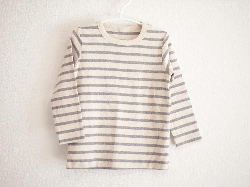 無印良品 起毛フライス編み  ボーダー長袖Tシャツ ミディアムグレー