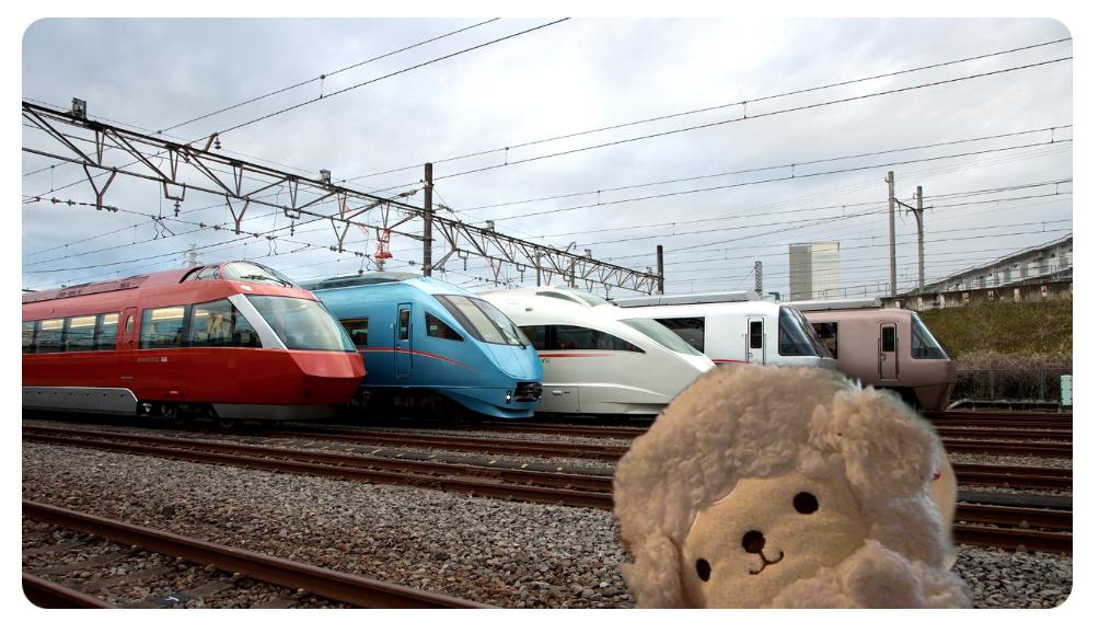 【無料ダウンロード】zoomで使える!電車と鉄道のバーチャル背景 小田急使用例 ロマンスカー5台並び