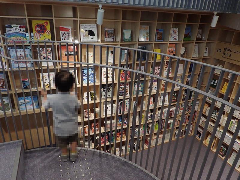 【大阪お出かけ】新しい図書館「こども本の森 中之島」2階〜1階階段