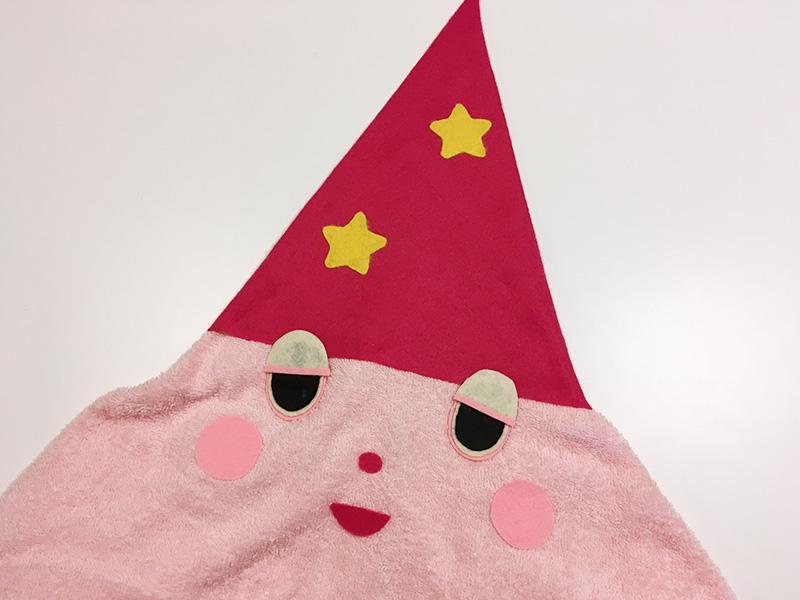 【2歳児の寝かしつけに】「いないいないばあっ!」のモウフーの作り方 モウフーの帽子に星をつける