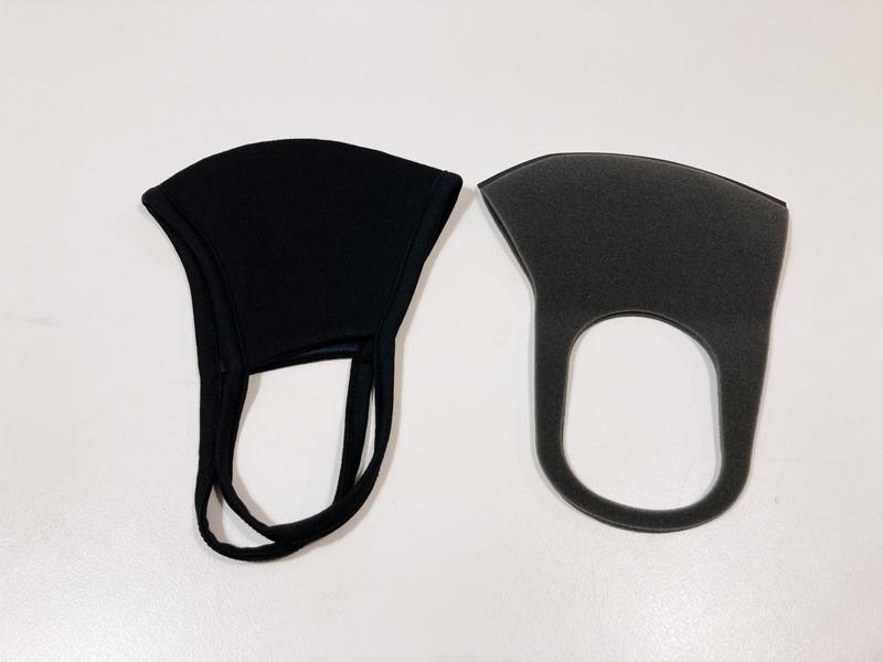 【マスク比較レビュー】GUの高機能フィルター入りマスク ブラックMとPITTAマスク レギュラーグレー形状比較
