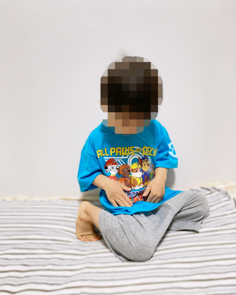 【西松屋購入品:子ども服】パウパトロールのプリントルームウェア(パジャマ・部屋着)2021年春夏半袖半ズボンセットアップ 3歳着用画像サイズ感